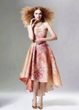 Вечернее платье короткое спереди длинное сзади с рисунком