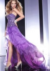 Фиолетовое вечернее платье короткое спереди длинное сзади