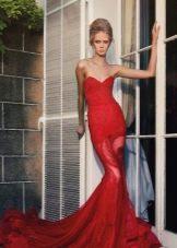 Красное вечернее платье русалка