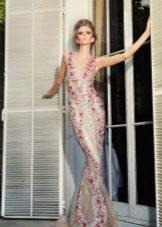 Вечернее платье русалка с цветами