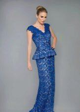 Синее вечернее платье с баской руслка