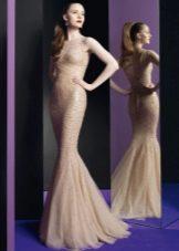 Вечернее платье русалка в стиле нюд