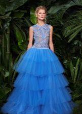 Многоярусное пышное вечернее платье