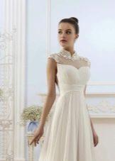 Оформление верха свадебного платья кружевом