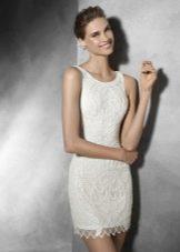Короткое свадебное платье расшитое бисером