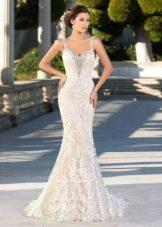 Свадебное платье русалка кружевное цвета слоновой кости