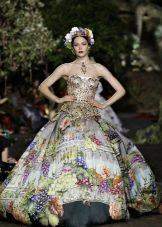 вечернее платье с принтом 2016 от Dolce & Gabbana
