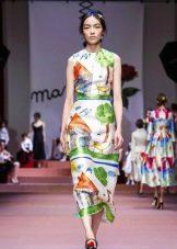 вечернее платье с принтом 2016 от Дольче Габбана короткое