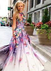 Вечернее платье на выпускной с цветами