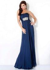 Синее вечернее платье на выпускной в стиле ампир