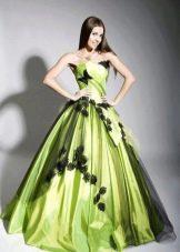 Свадебное платье зеленое с черным
