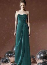 Зеленое свадебное платье прямое