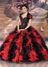 красно-черное свадебное платье с воланами