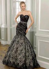 Чорно-белое свадебное платье русалка