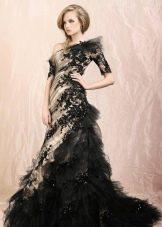 Черное свадебное платье с бежевым
