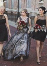 Свадебное черное платье с белой подложкой