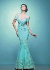 Свадебное платье русалка бирюзового цвета