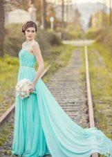 Бирюзовое свадебное платье прямое