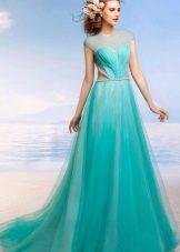 Пышное бирюзовое свадебное платье