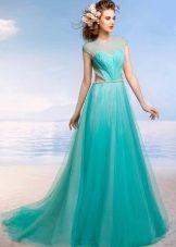 Бирюзовое свадебное платье от Романовой