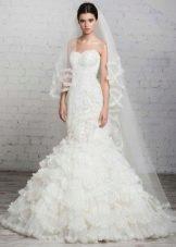свадебное платье от Романовой русалка с воланами