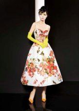 Вечернее платье миди цветное