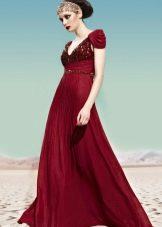 Бордовое вечернее платье ампир