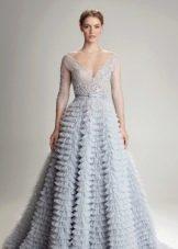 Серо-голубое свадебное платье