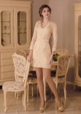 Короткое свадебное платье от Виктории Карандашевой футляр с рукавами