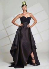 Вечернее платье черное с асимметрией