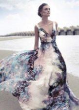 Шелковое вечернее платье цветное