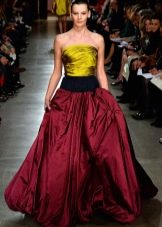 Желто-красное вечернее шелковое платье