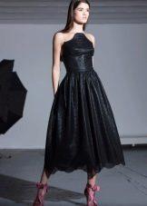 Черное свадебное платье миди на торжественный вечер