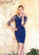 Вечернее платье короткое синее