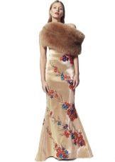 Вечернее платье  для Нового года с меховой накидкой
