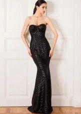 Черное вечернее платье футляр  в пол