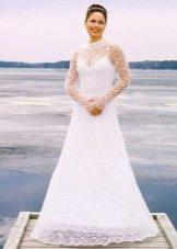 Вязанное свадебное платье крючком на подкладе