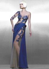 Вечернее платье из кружевной прозрачной ткани