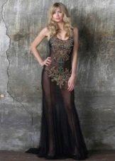 прозрачное откровенное платье с декором