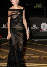 Вечернее откровенное платье из шифона