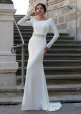 Свадебное платье русалка с кружевным поясом
