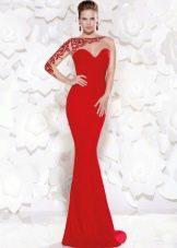 Сексуальное облегающее красное платье вечернее