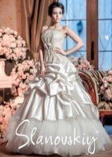 Свадебное платье с присобраной юбкой