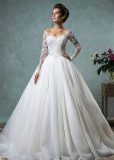 Свадебное платье белое пышное с рукавами