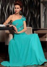 Бирюзовое длинное вечернее платье