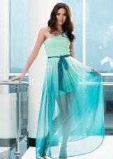 Зелено-бирюзовое платье