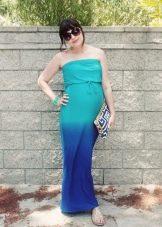 Сине-бирюзовое платье