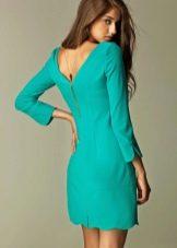 Короткое бирюзовое платье с длинными рукавами