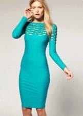 Бирюзовое платье-футляр с длинным рукавами