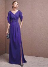 Вечернее фиолетовое платье с разрезом